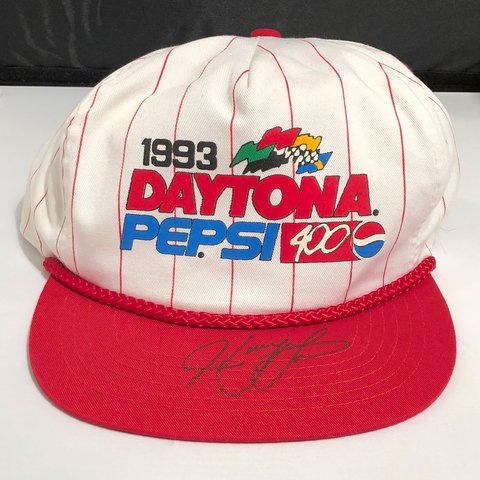 e9342789ecd 1993 Pepsi 499 Daytona NASCAR SnapBack hat Signed by Harry - Depop