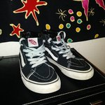 e0dff4481abef4 CHECKERED VANS KIDS SIZE 4    NOT 5 WOULD ONLY LET ME PUT A - Depop