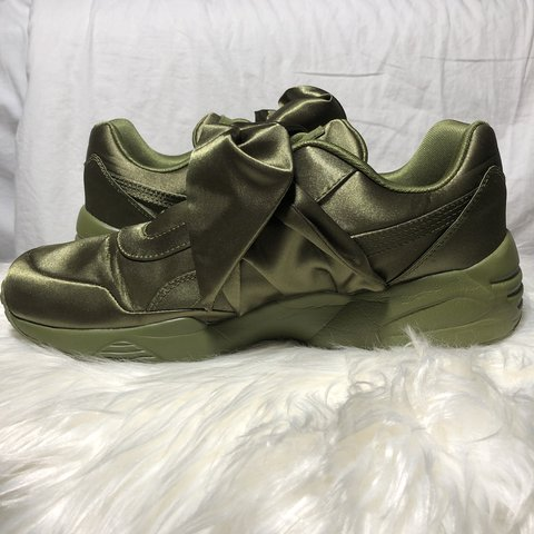 cab3c56bf2c Puma Fenty by Rihanna Bow Sneakers in olive green satin are - Depop