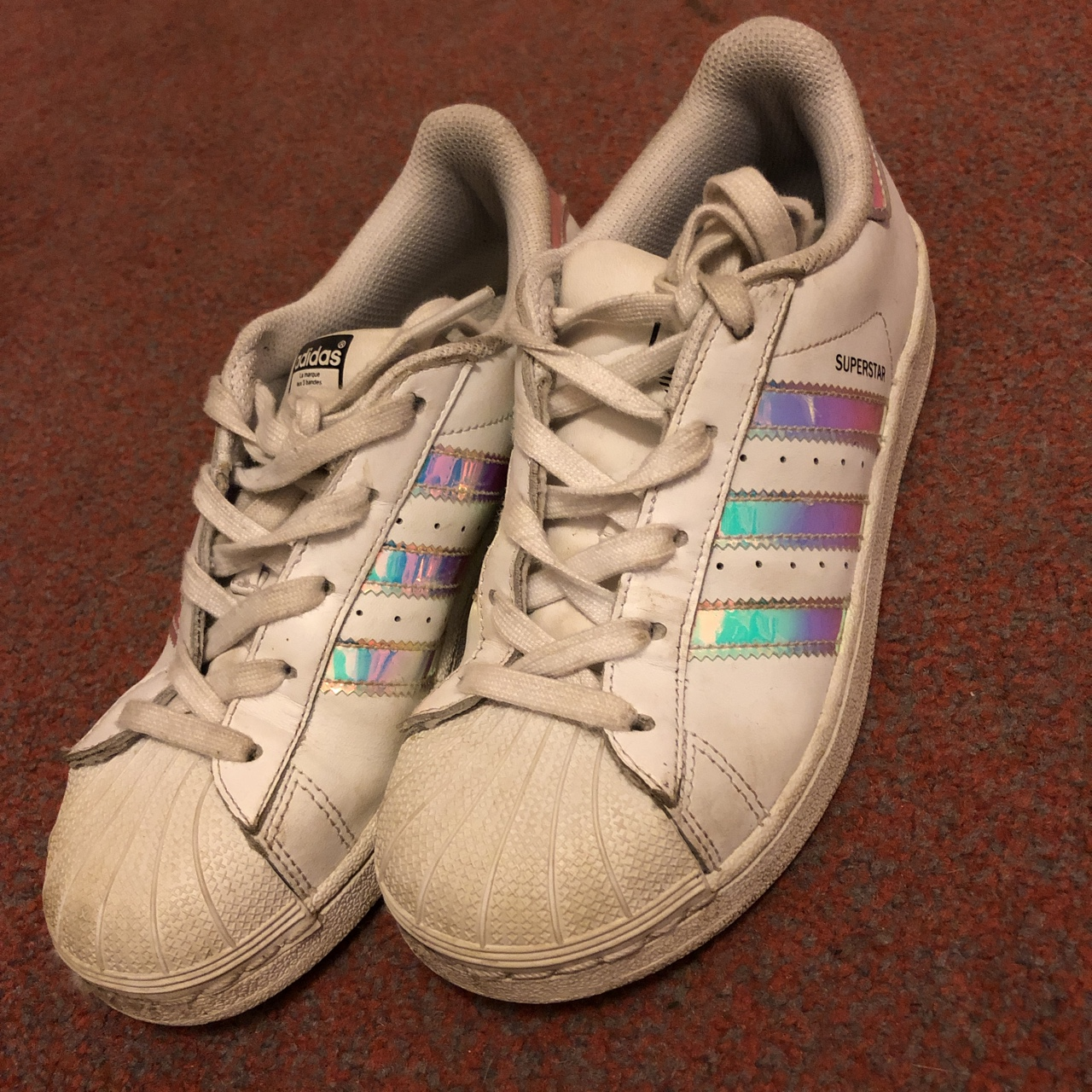 Girls Adidas Superstar trainers in size 2, They are...