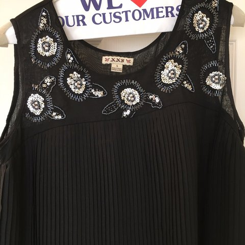 Forever 21 Black Swing Dress With Sequin Detail Depop