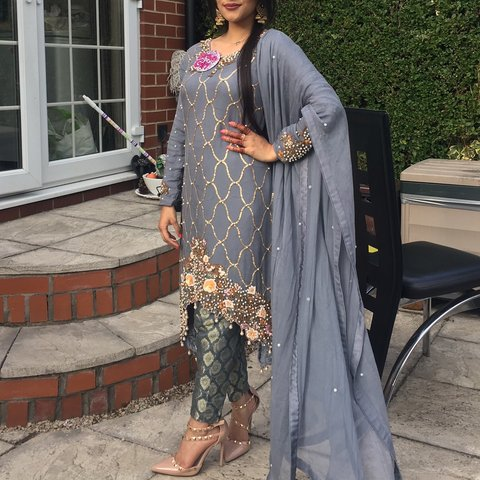 40622eeff8 Beautiful Asian / Pakistani dress grey and gold combo, and / - Depop
