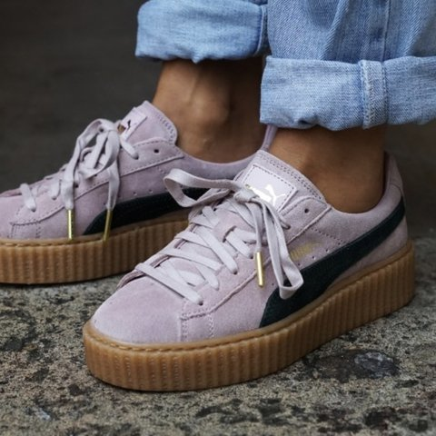 eb694b01d8a Fenty Puma Creepers By Rihanna In Pink Black In used worn - Depop