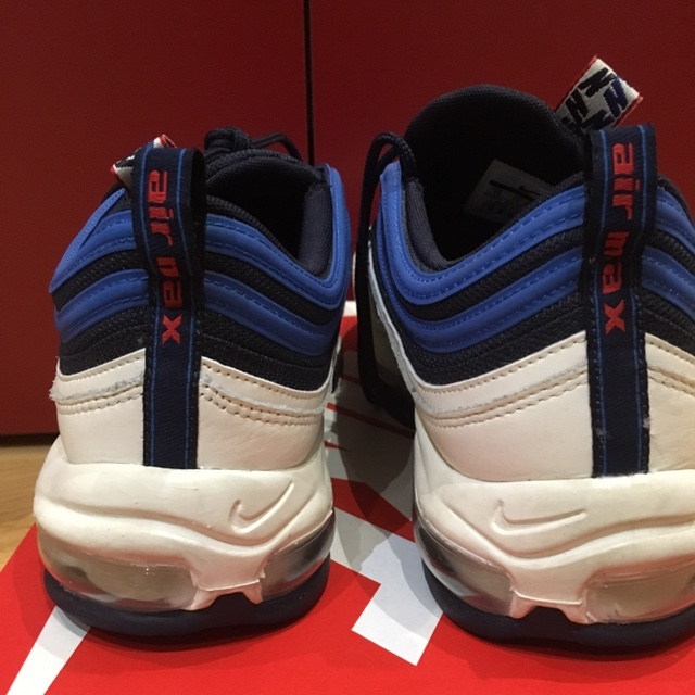 Nike Air Max 97 Obsidian SE, white blue and red Depop