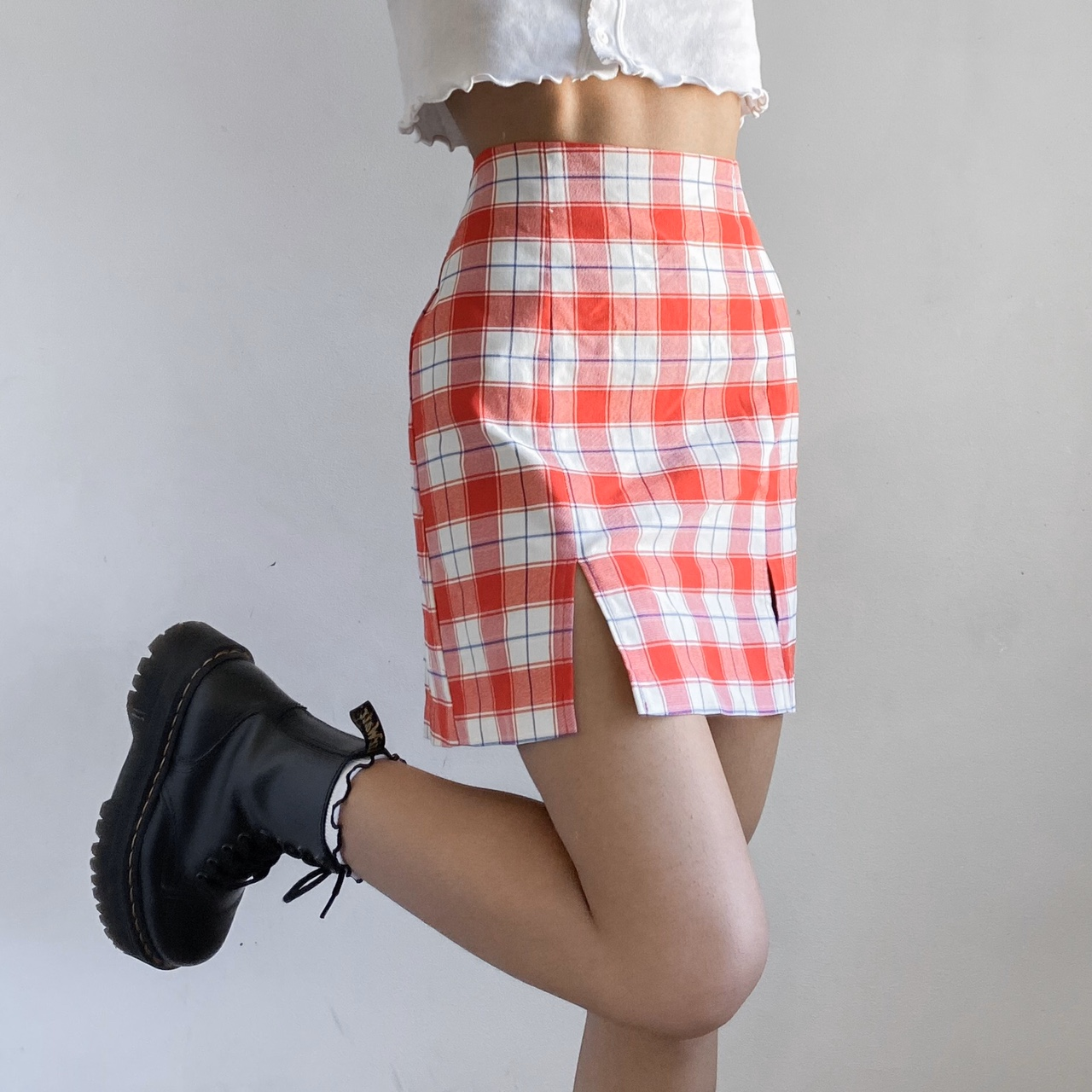 Urban Outfitters - Jackie Red Plaid Mini Skirt ✨