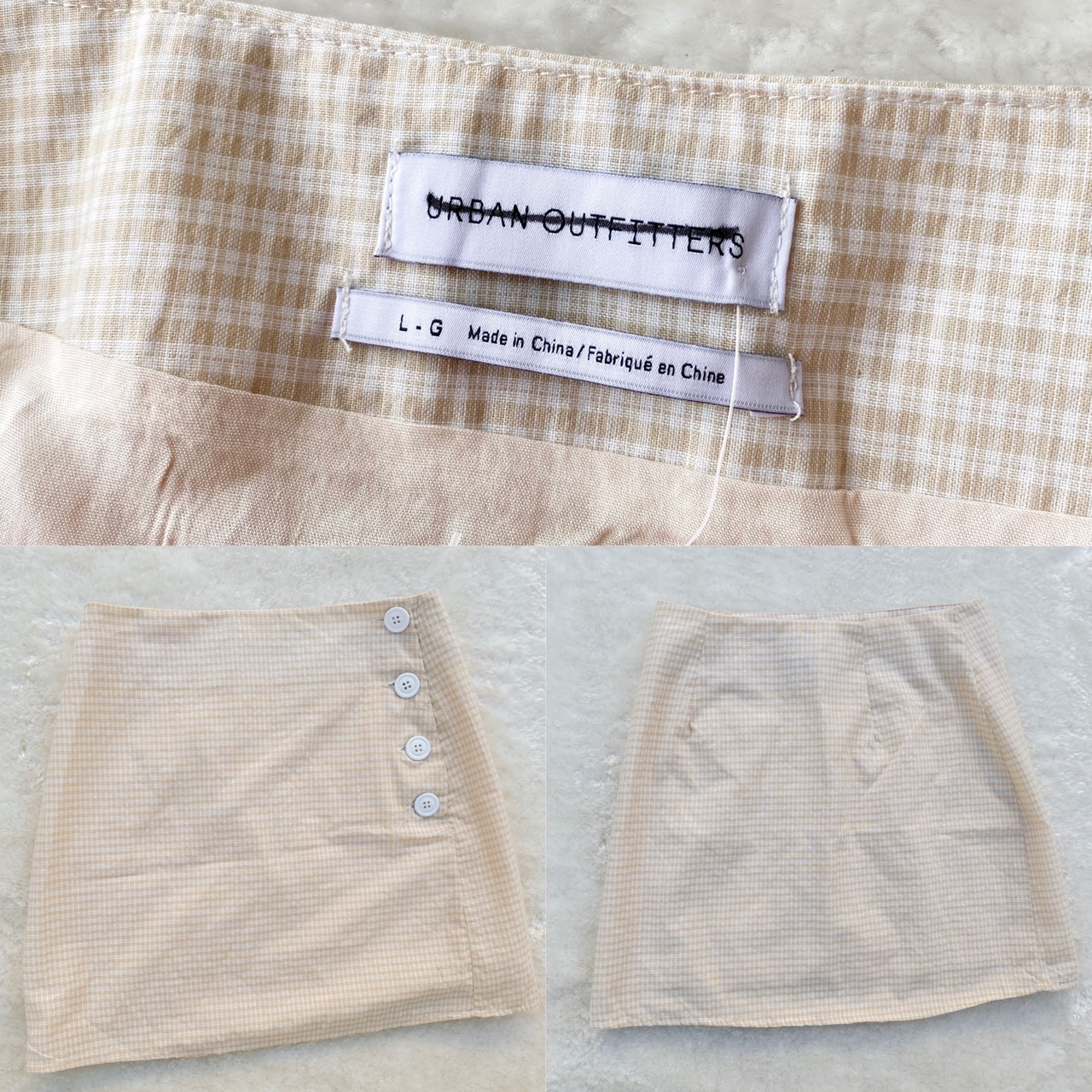 Urban Outfitters - Creamy & White Gingham Button Mini