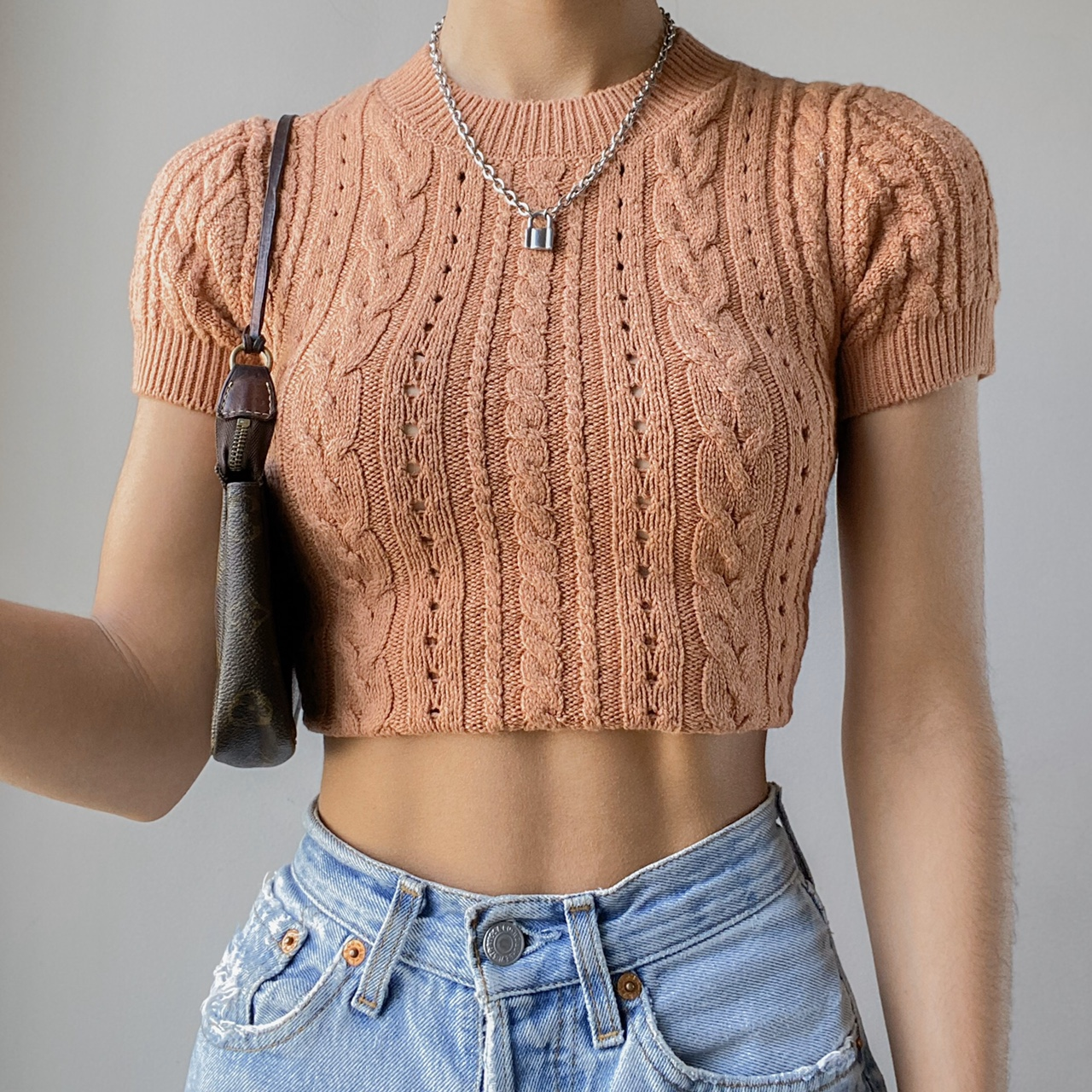 Free People - Short + Sweet Brick Cable Knit