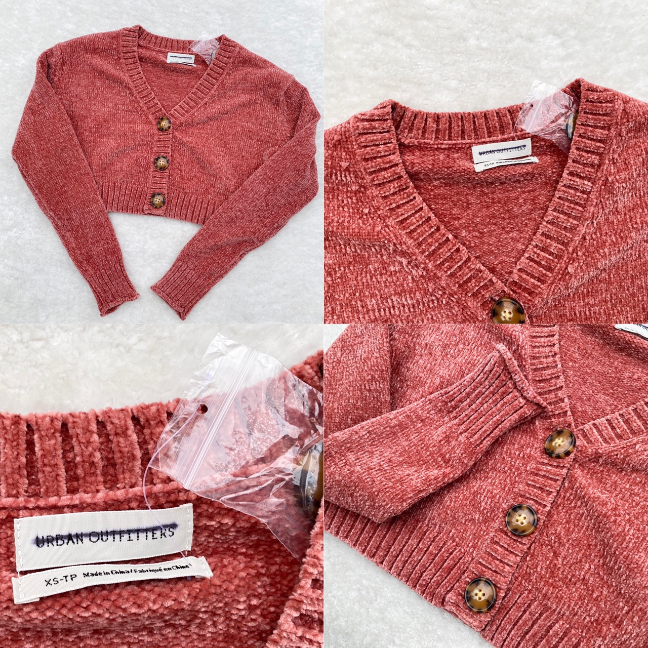 Urban Outfitters - Brick Plush Cropped Cardigan ✨