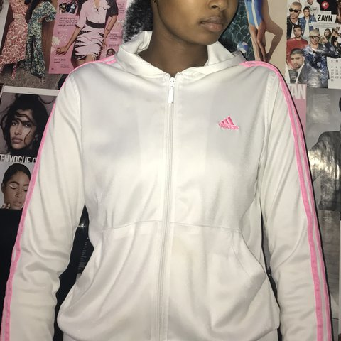 5d4e56bee6f @kenove. last year. Harrisburg, United States. White Adidas jacket with pink  ...
