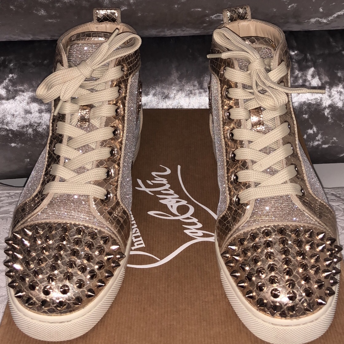 official photos af89f eb0b9 Ladies Gold spike high top Christian louboutin... - Depop