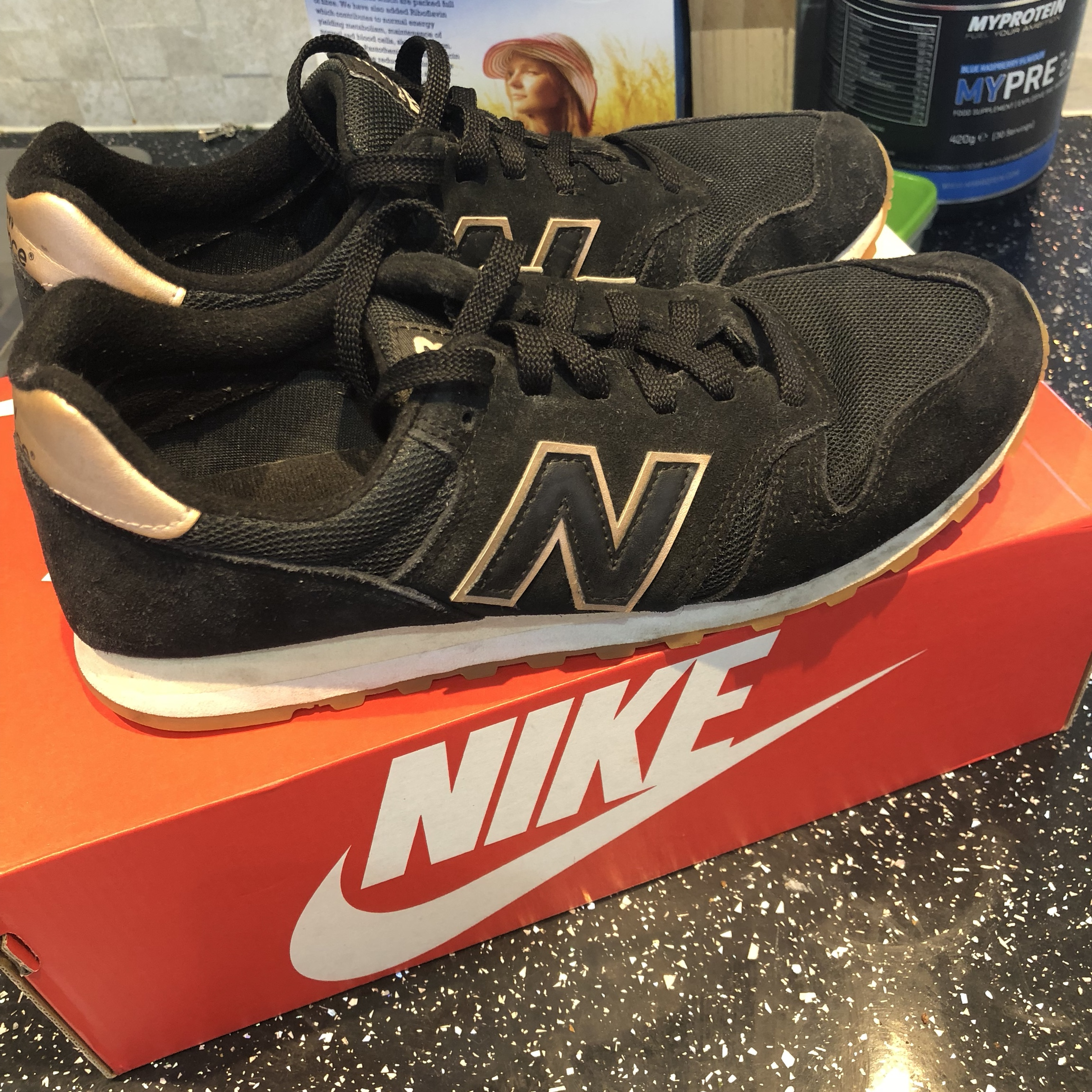 New balance black rose gold 574 trainers Suede and Depop