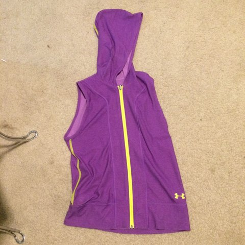 9c2b6a8b7bc77d  mlove598. 8 months ago. United States. Purple and neon yellow sleeveless  hoodie from under armor.