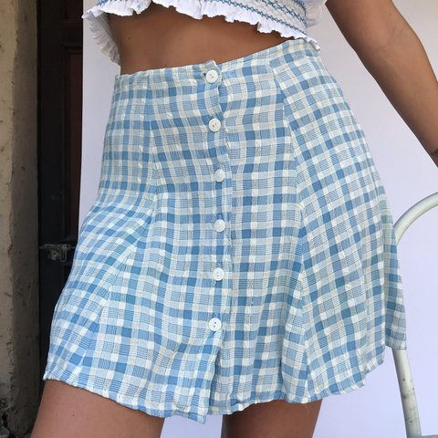 Cutest Button Down Baby Blue Plaid Skirt With The Most To Depop