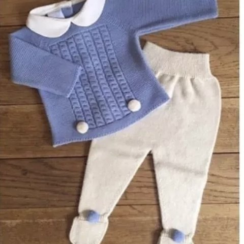 5b36e1768f06 Granlei baby boy blue   cream knitted two piece outfit with - Depop