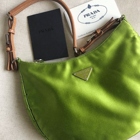 bce7f58904936c Beautiful green silk satin Prada mini handbag. Used in very - Depop