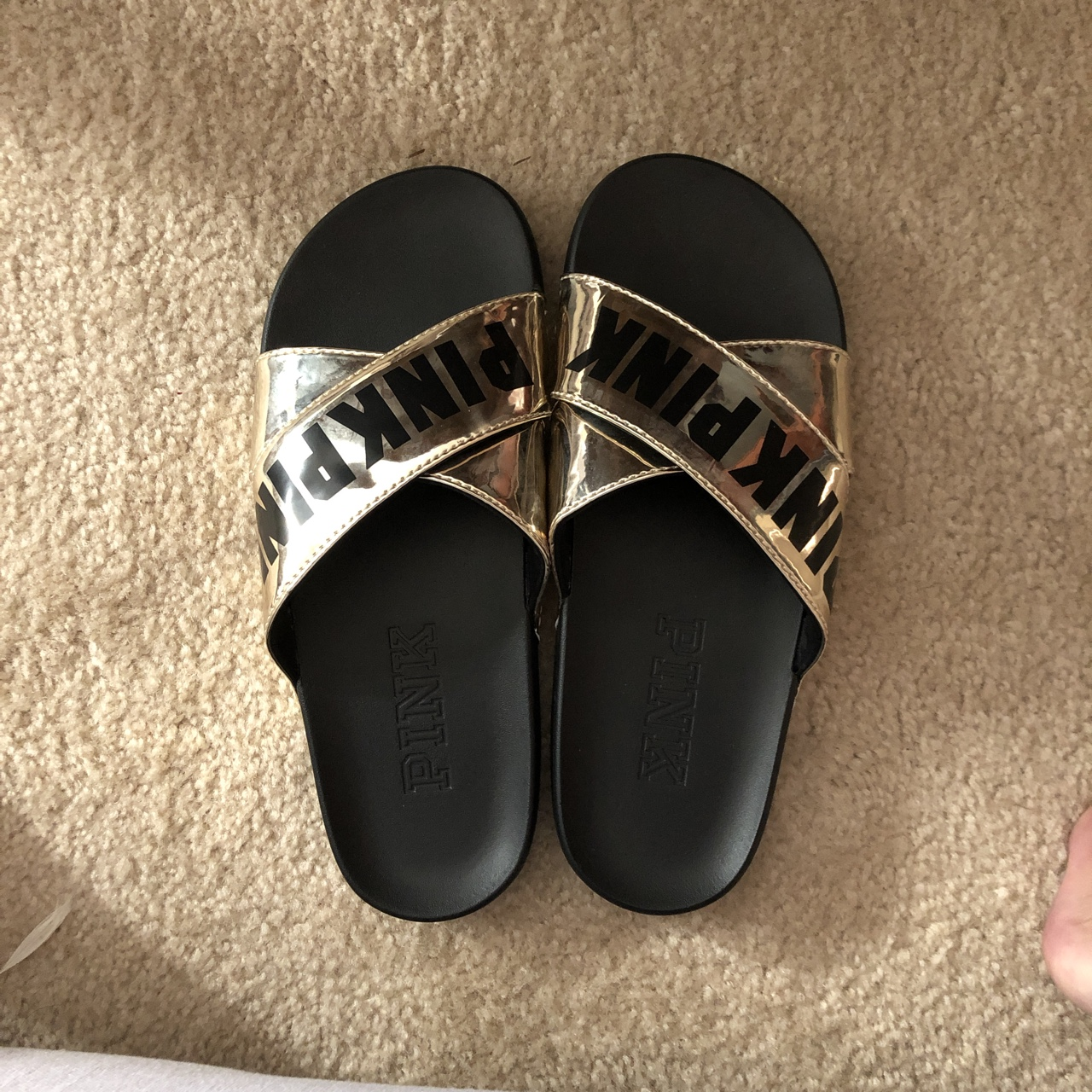 763845a472a43 victoria's secret pink slides. black and gold brand... - Depop