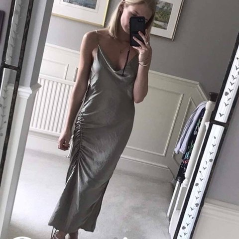 c4a33027 @phoebetierneyx. 10 months ago. Leeds, United Kingdom. Selling this Zara  draped camisole satin dress in ...