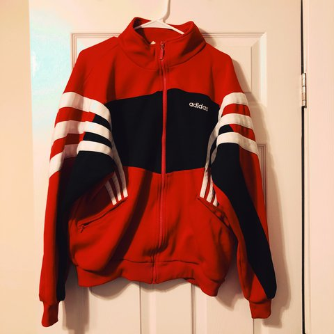 Vintage Authentic Adidas Jacket Red Black Very Good A Bit Depop