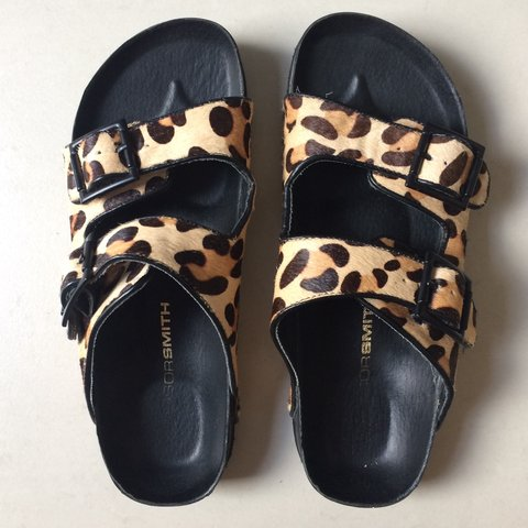 f4bab5e6cad windsor smith leopard print birkenstock style sandals. worn - Depop