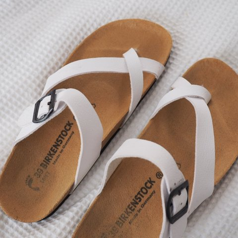 65b2f5c9515 white birkenstock sandals. they are fake birks but are in 39 - Depop
