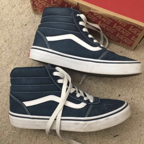 blue hi top skate vans • these are actually in kids size 4 a - Depop cdbccc256a