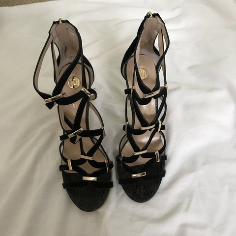 River island black and gold heeled