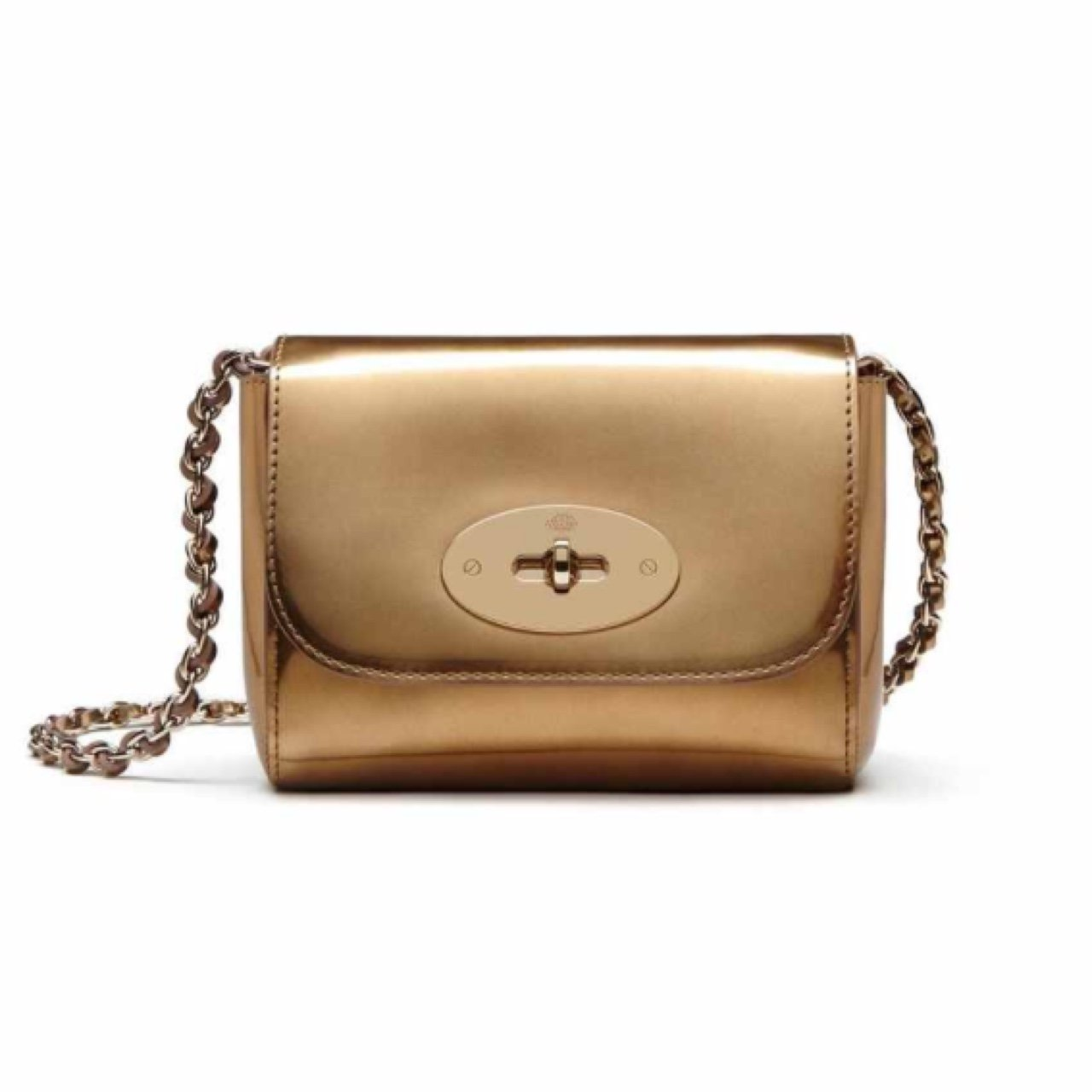 5252fb9c2df @afshanazad. 3 years ago. Manchester, UK. Mulberry mini Lily cross body bag.  Gold mirror metallic leather.