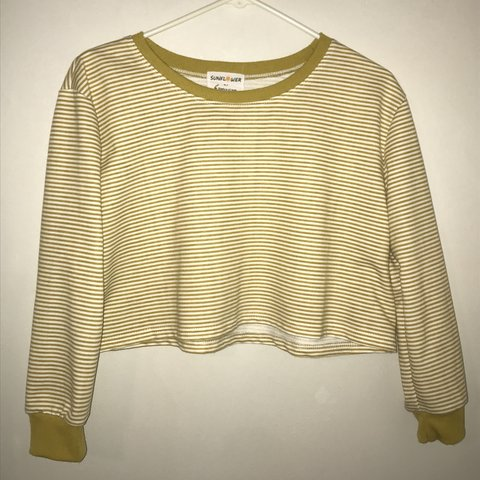 ec39f683d1b3b4 Cropped Yellow And White Striped Shirt💛 Never Worn‼ but - Depop