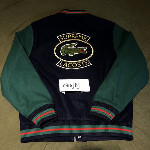Supreme X Lacoste Wool Varsity Jacket Navy Gucci Small To Depop