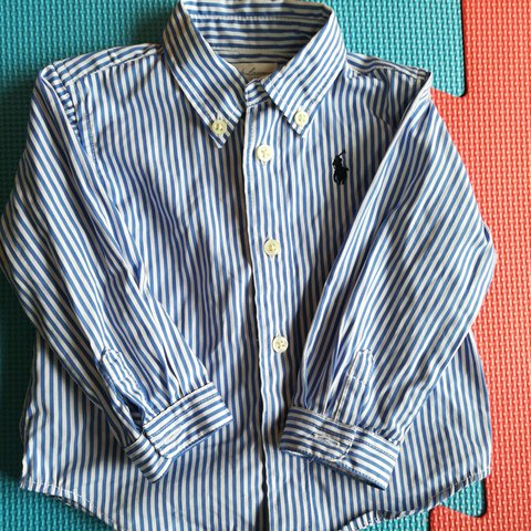 174277c80 RALPH LAUREN DESIGNER BABY BOY SHIRT 6M BLUE PIN STRIP HAVE - Depop