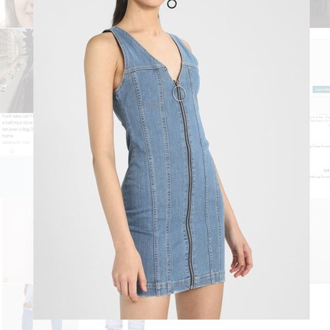 5e0609f742 Missguided zip up denim dress Size 8 Not in stock anymore - Depop