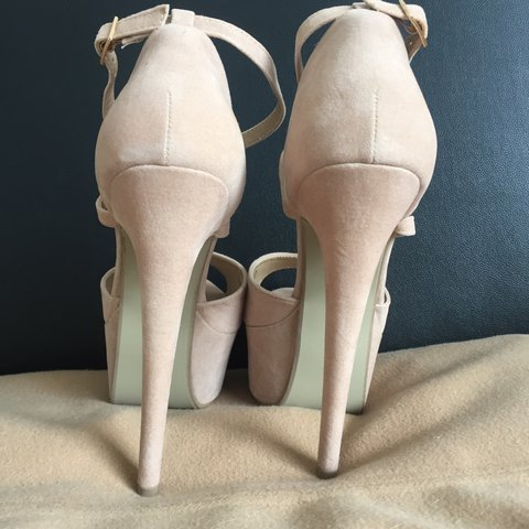 66f8ff301366 Brand new in box faux suede platform nude beige very high to - Depop