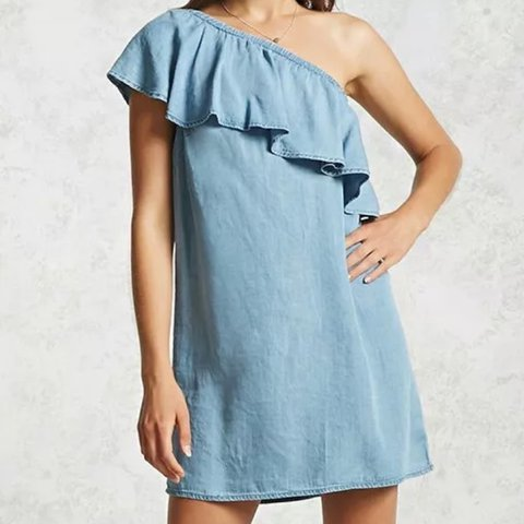 9c38f240c4 New Forever 21 Contemporary - A Chambray Dress Featuring A A - Depop