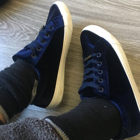 889a2601a6d63b Royal blue   navy velvet shoes   trainers styled like the of - Depop