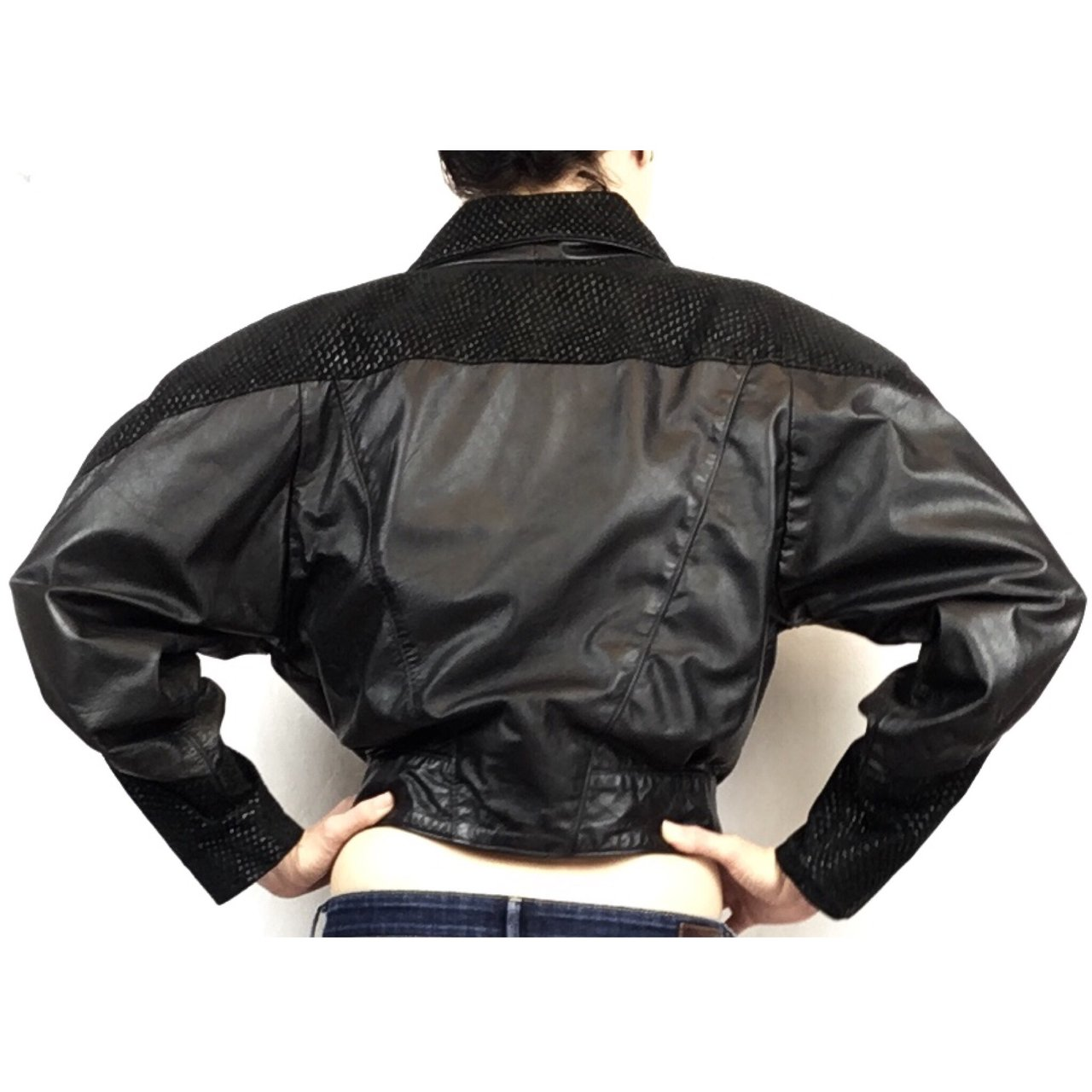 🔮💣 Vintage PELLE Black Leather 1980s Fashion Jacket with & - Depop
