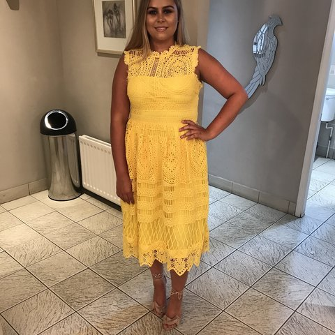 71c5cd636bae Boohoo Yellow Crochet Lace Midi Dress. Worn once! Size 14 up - Depop
