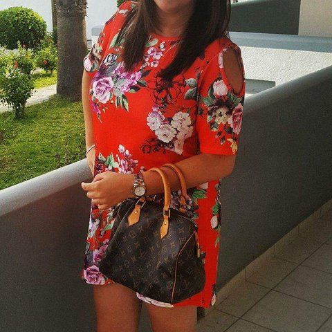 21c84a828488 @missdanielle87. last year. London, Greater London, United Kingdom. Boohoo  floral orange cold shoulder shift dress.