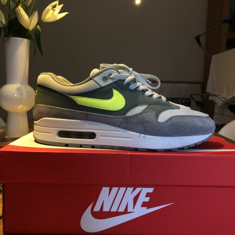 711f6d9eb792 Nike Air Max 1 Clay Green with Volt yellow Used with box - - Depop
