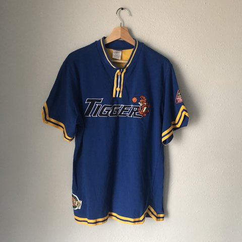 b1976394490 90s Tigger embroidered basketball jersey Blue and Yellow - Depop