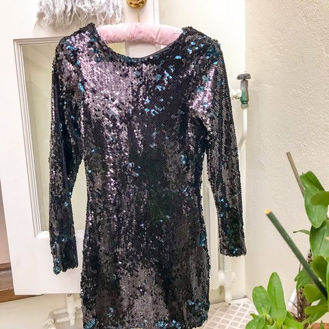 8cce8b50 Zara sequin black/teal mini dress with a v neck back. Size 3 - Depop
