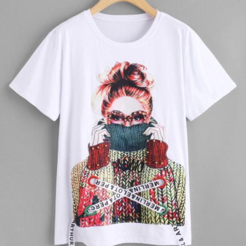 64482cc3ace6 women's white figure print t-shirt. very soft material and a - Depop