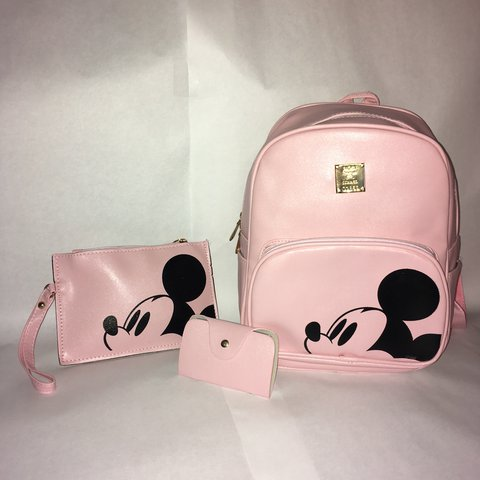 9575ad25f92 Pink and Black Mickey Mouse Backpack Set. Includes one one - Depop