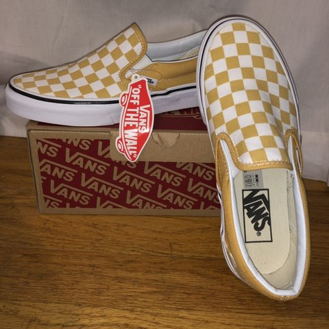 eeb86a13a4 brand new yellow checkered vans! perfect condition they re + - Depop