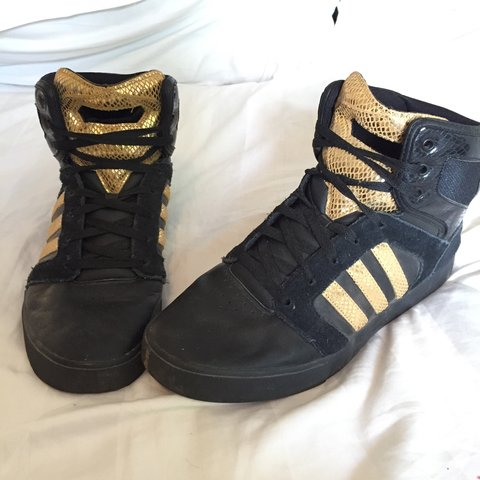 199b03500f7e Adidas Neo black w/gold snake skin hi top trainers. These in - Depop