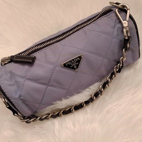 06fe994d3bc7d2 Authentic vintage mini powder blue quilted nylon pochette no - Depop