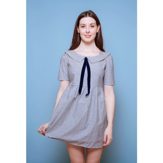 4a39f148e8 Navy and white  smock  dress with  sailor collar. Square bib - Depop