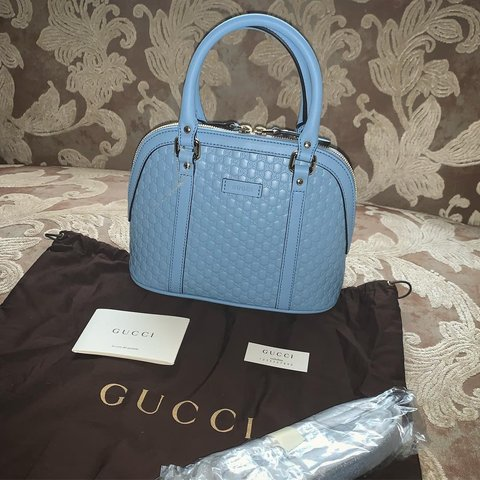 e3a34b1ed16 Gucci Micro Dome Leather 449654 In Baby Blue 💎 This bag is - Depop