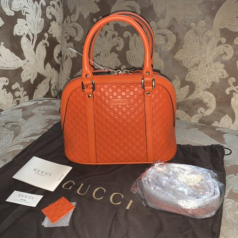 cf485f71c4b Gucci Micro Dome Leather 449654 In Orange 🍊 Crafted from - Depop