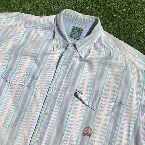 ac466df0f4c @sweetfellowship. yesterday. Henderson, United States. Vintage McIntosh &  Seymour Pastel Striped Rugby Polo Shirt