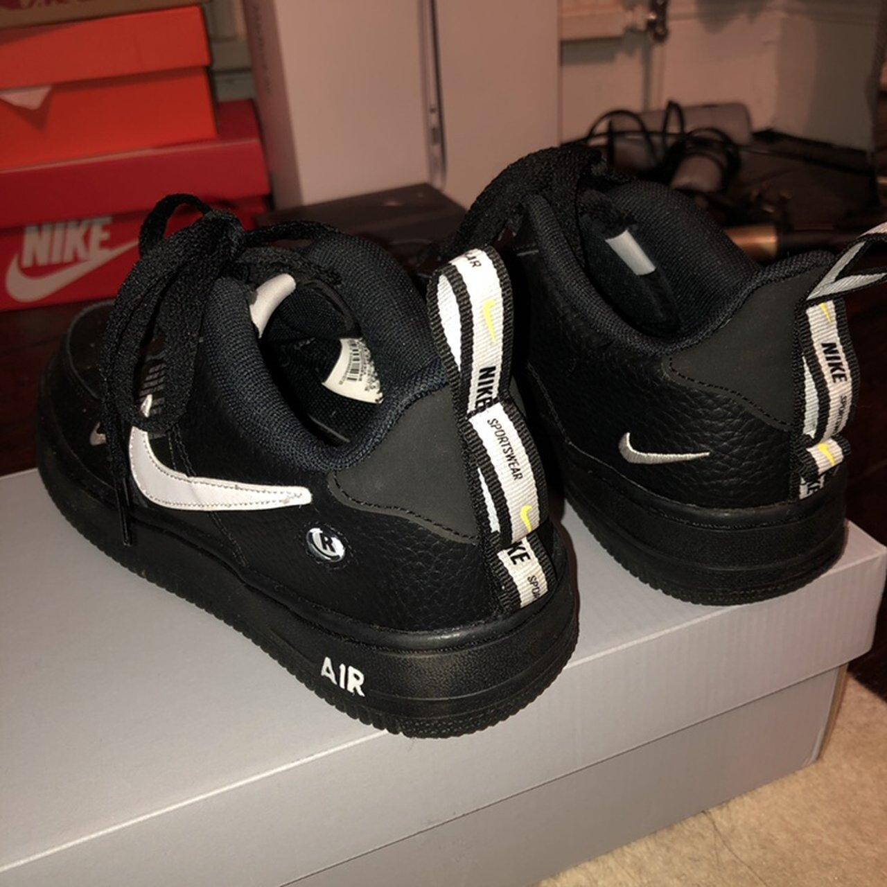 7f0905fee61 New NIKE BLACK AIRFORCE 1lv8 utility trainers . Very popular - Depop
